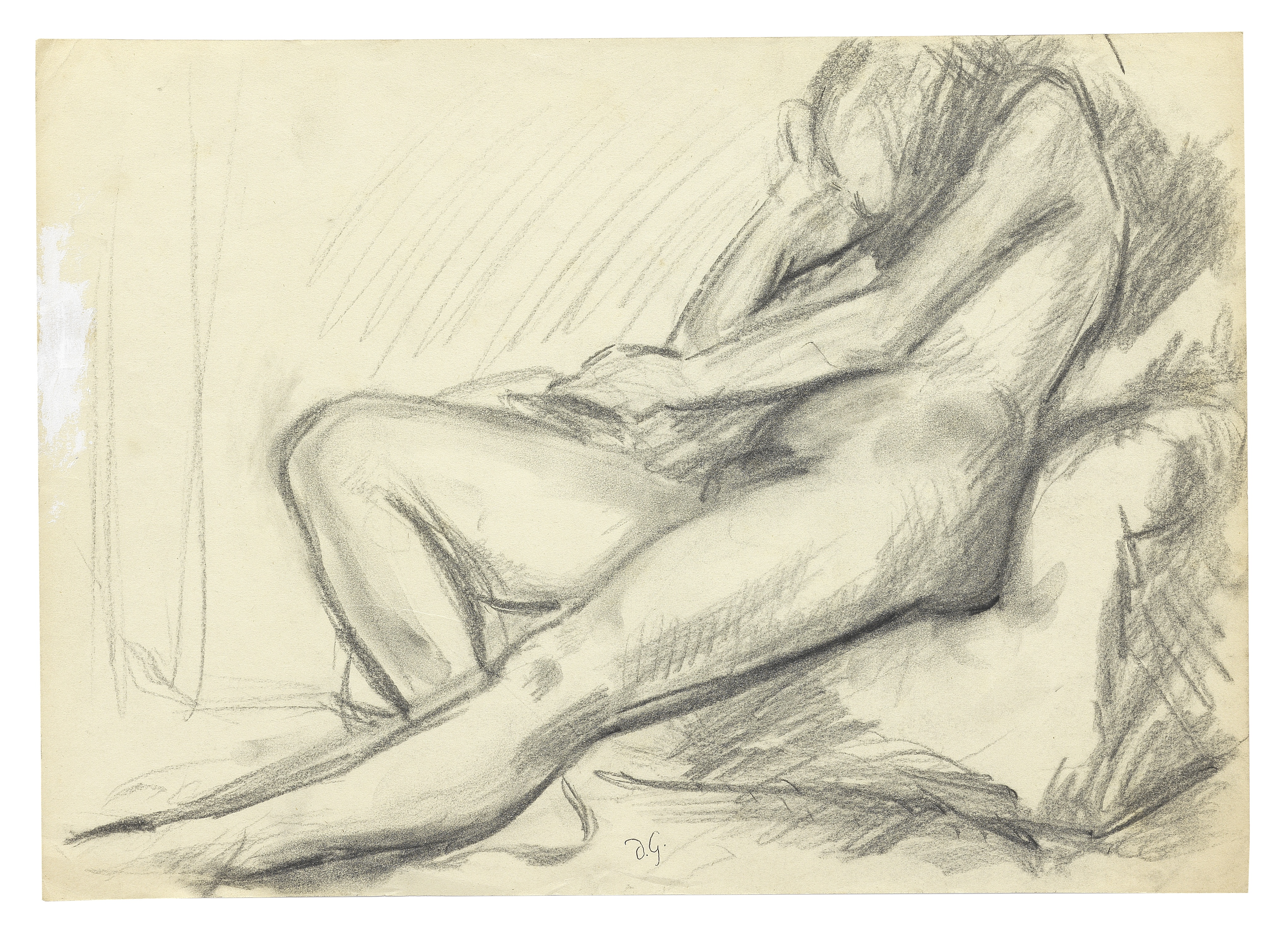 Duncan Grant (British, 1885-1978) Male nude (2) 25.4 x 35.5 cm. (10 x 14 in.) unframed (Executed ...