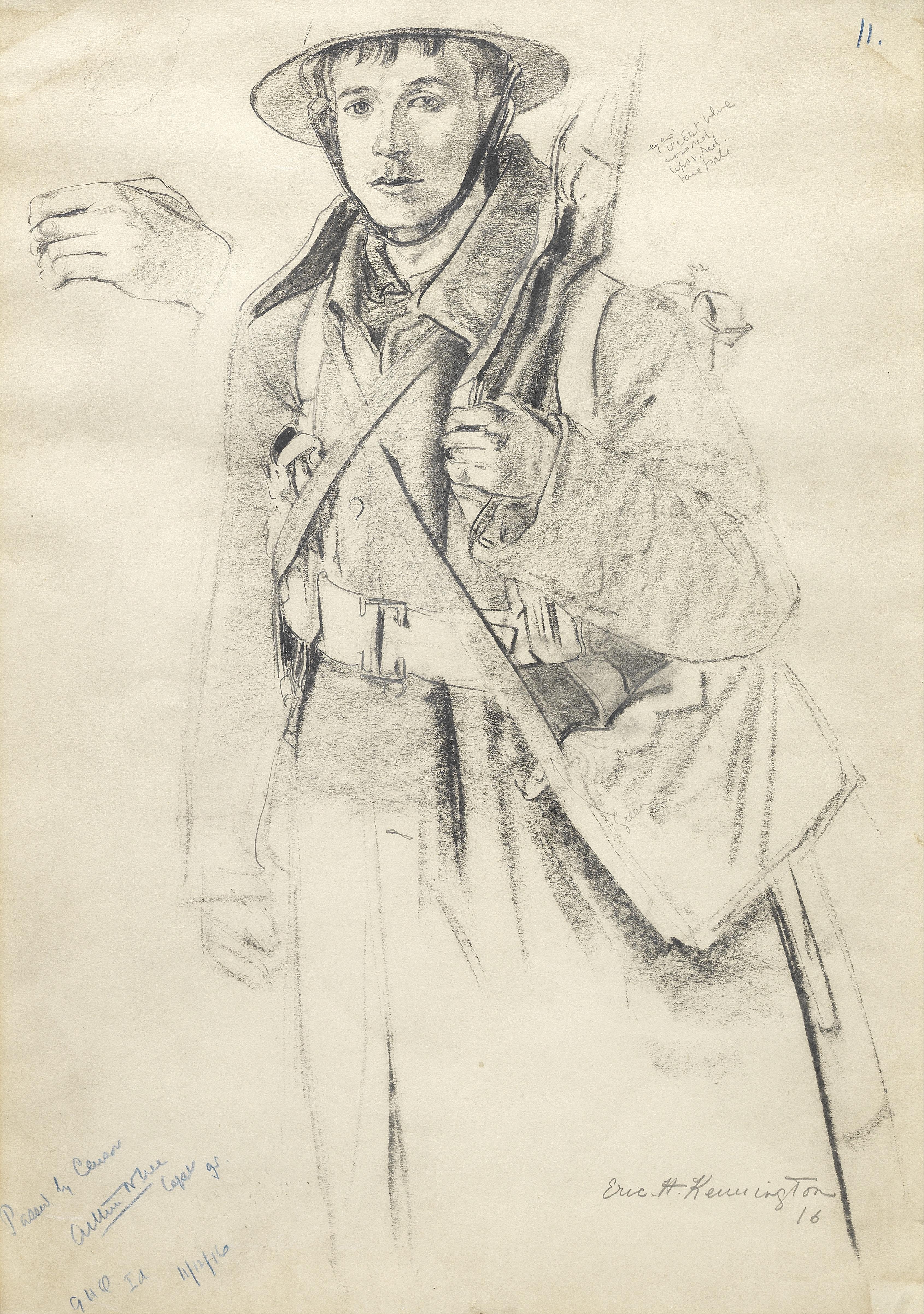 Eric Henri Kennington R.A. (British, 1888-1960) An Infantryman 54.5 x 37.8 cm. (21 1/2 x 14 7/8 in.)