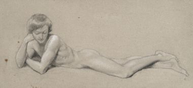 Attributed to Francois Léon Benouville (French, 1821-1859) Reclining youth