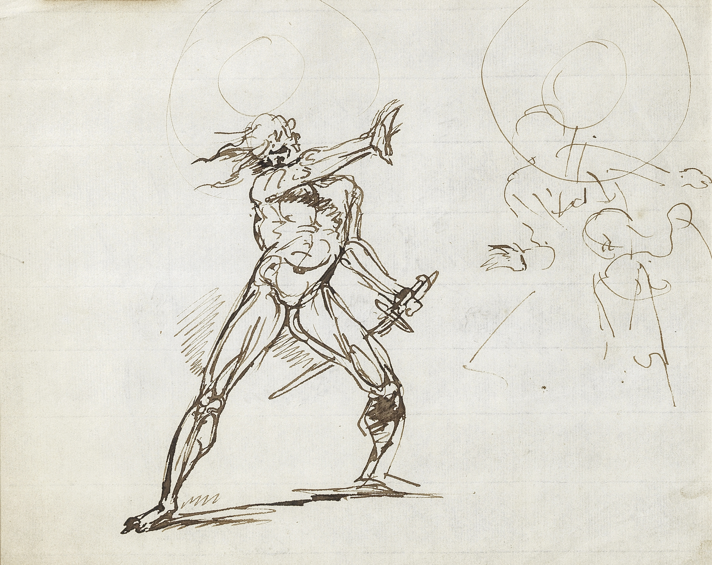 Raphael Lamar West (American, 1769-1850) A warrior (with a study of a figure with bow and arrow,...