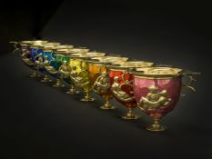 The Pride Cups: Eight cast silver-gilt and coloured cups Hal Messel, Birmingham 2019