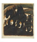 Sybil Andrews CPE (1898-1992) Day's End Linocut printed in raw sienna, crimson, permanent blue, C...
