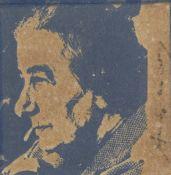 Andy Warhol (1928-1987) Golda Meir Screenprint in blue, 1973, on felt, signed in felt-tip pen, f...
