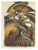 Sybil Andrews CPE (1898-1992) Fall of the Leaf Linocut printed in chrome yellow, transparent gold...