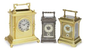 A mid 19th century French ENGRAVED SILVERED BRASS REPEATING CARRIAGE clock
