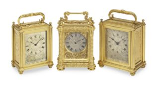 A fine mid 19th century small engraved gilt carriage timepiece Probably by Aubert & Klaftenberge...