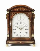 A first half of the 19th century brass inlaid rosewood quarter chiming table clock John Palmer, G...