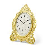 A FINE AND RARE ENGRAVED GILT BRASS OVAL STRUT TIMEPIECE OF LARGE SIZE Thomas Cole, London, no. 1...