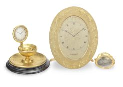 A LARGE mid 19th century ENGRAVED GILT BRASS oval STRUT TIMEPIECE Thomas Cole, London, no. 1586....