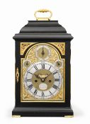 A first half of the 18th century ebonised table clock with pull cord repeat Richard Peckover, Lon...