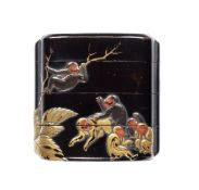 An early black-lacquer small three-case inro 17th century
