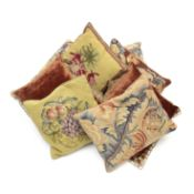 A collection of eight various needlework and velvet cushions 19th century and later (8)
