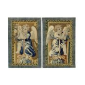 A pair of Flemish tapestry fragments 17th/ 18th century
