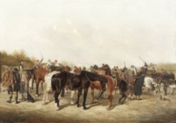William Henry M. Turner (British, active 1849-1887) The horse fair; Horse traders outside an inn,...