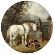 John Frederick Herring, Jnr. (British, 1815-1907) A horse watering