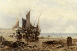 George Stainton (British, active 1866-1890) Fishing boats unloading