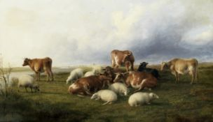 Thomas Sidney Cooper RA (British, 1803-1902) Cattle and sheep on Canterbury meadows