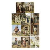 Frank Moss Bennett (British, 1874-1952) Studies of figures in period dress 20.6 x 15.8cm (8 1/8 x...