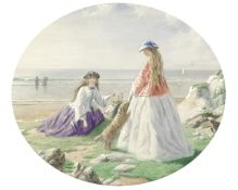 John Simmons (British, 1823-1876) A day out on the seashore 30.1 x 36.5cm (11 7/8 x 14 3/8in). oval