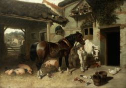 Manner of John Frederick Herring, Snr. Farm animals assembled in the yard