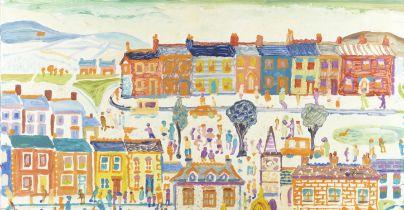 Fred Yates (British, 1922-2008) Busy Street Scene (unframed)