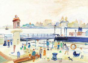 Fred Yates (British, 1922-2008) Liverpool Waterfront, Evening