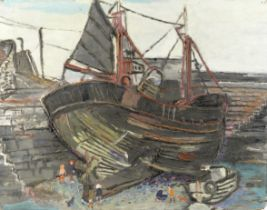 Fred Yates (British, 1922-2008) Fishing Boat in the Harbour (unframed)