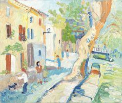 Fred Yates (British, 1922-2008) Village Street Scene (unframed)