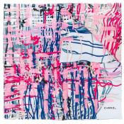 Pink And Blue Brushstroke Print Scarf, Chanel,