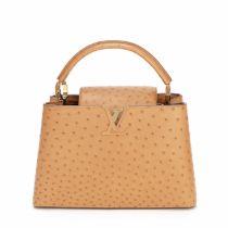 Tan Ostrich Capucines PM, Louis Vuitton, c. 2016, (Includes shoulder strap, dust bag and box)