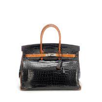 Black and Orange H Shiny Crocodile Birkin 35, Hermès, Limited edition 2007, (Includes padloc...