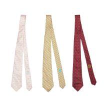 Three Silk Whimsy Ties, Hermès,