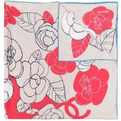 Beige And Red Camellia Print Silk Scarf, Chanel,