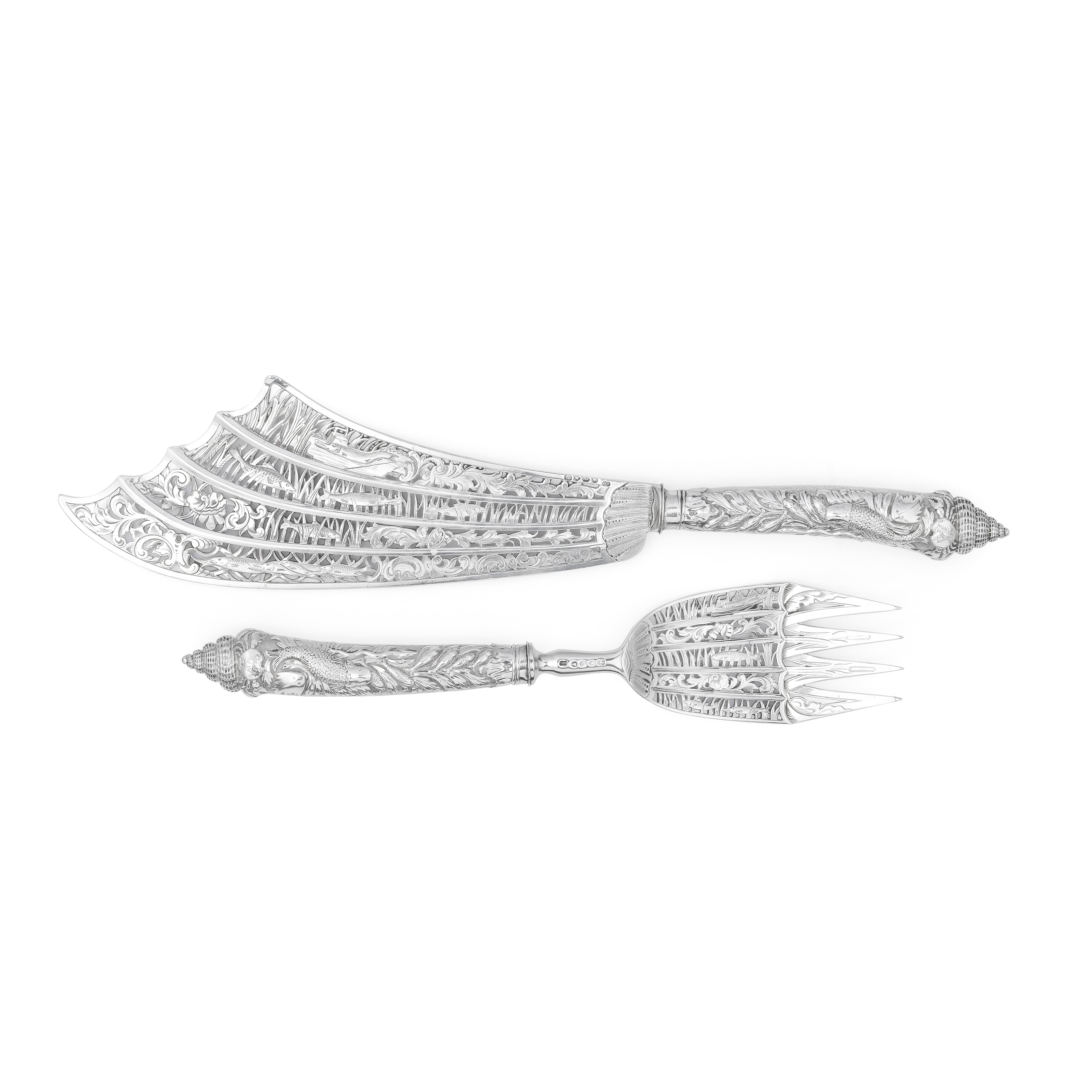 A good pair of Victorian silver cased fish servers George Adams, London 1857, handles 1856 (2)