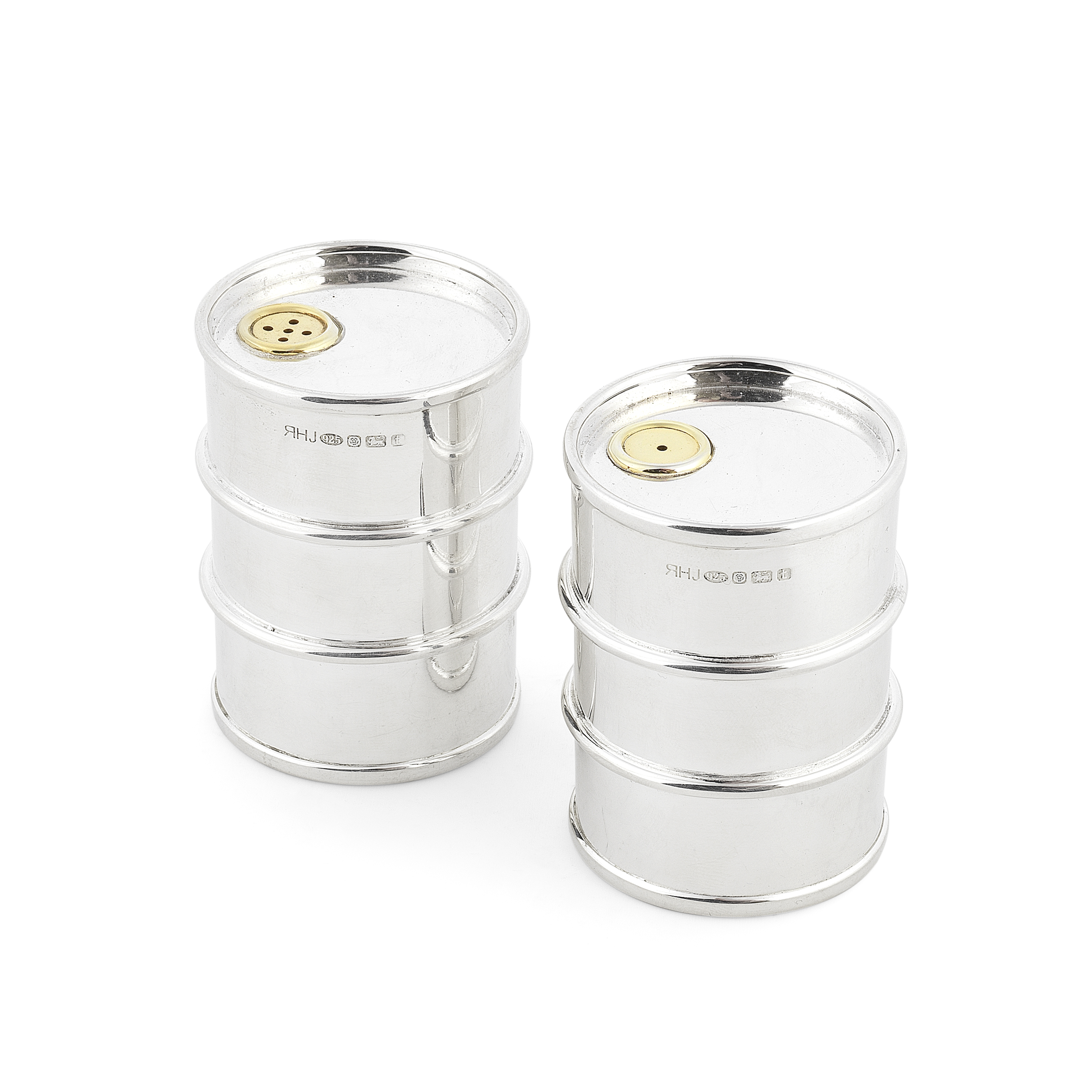 A novelty pair of silver 'oil drum' salt and pepper shakers Rebecca Joselyn, Sheffield 2018 (2)