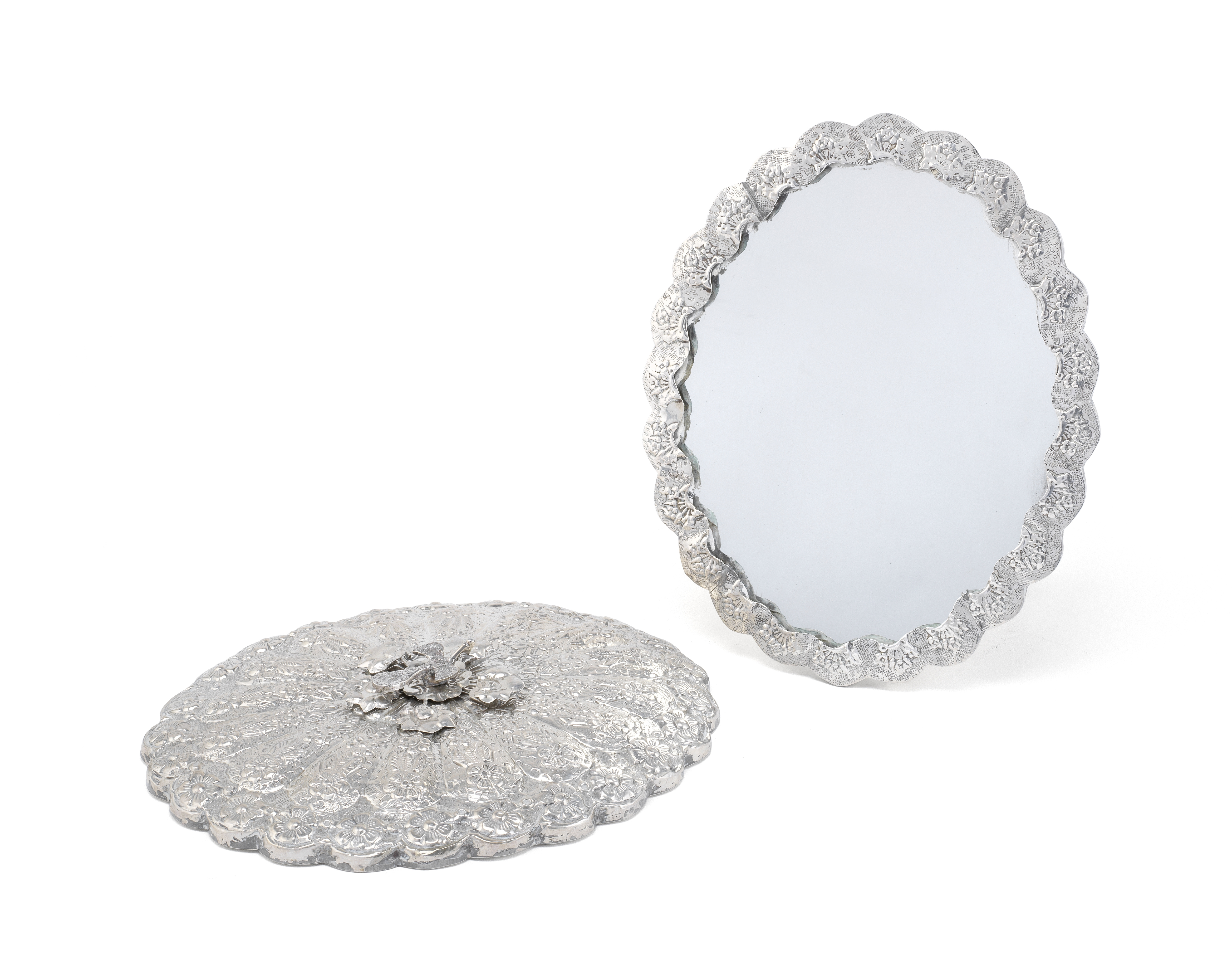 A pair of Egyptian silver mirrors 20th century (2)
