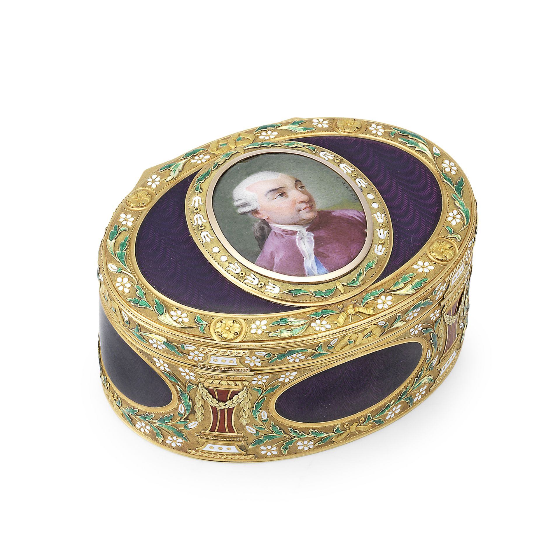 A 19th century gold and enamelled snuff box in the Louis XVI style bearing two sets of marks for ...