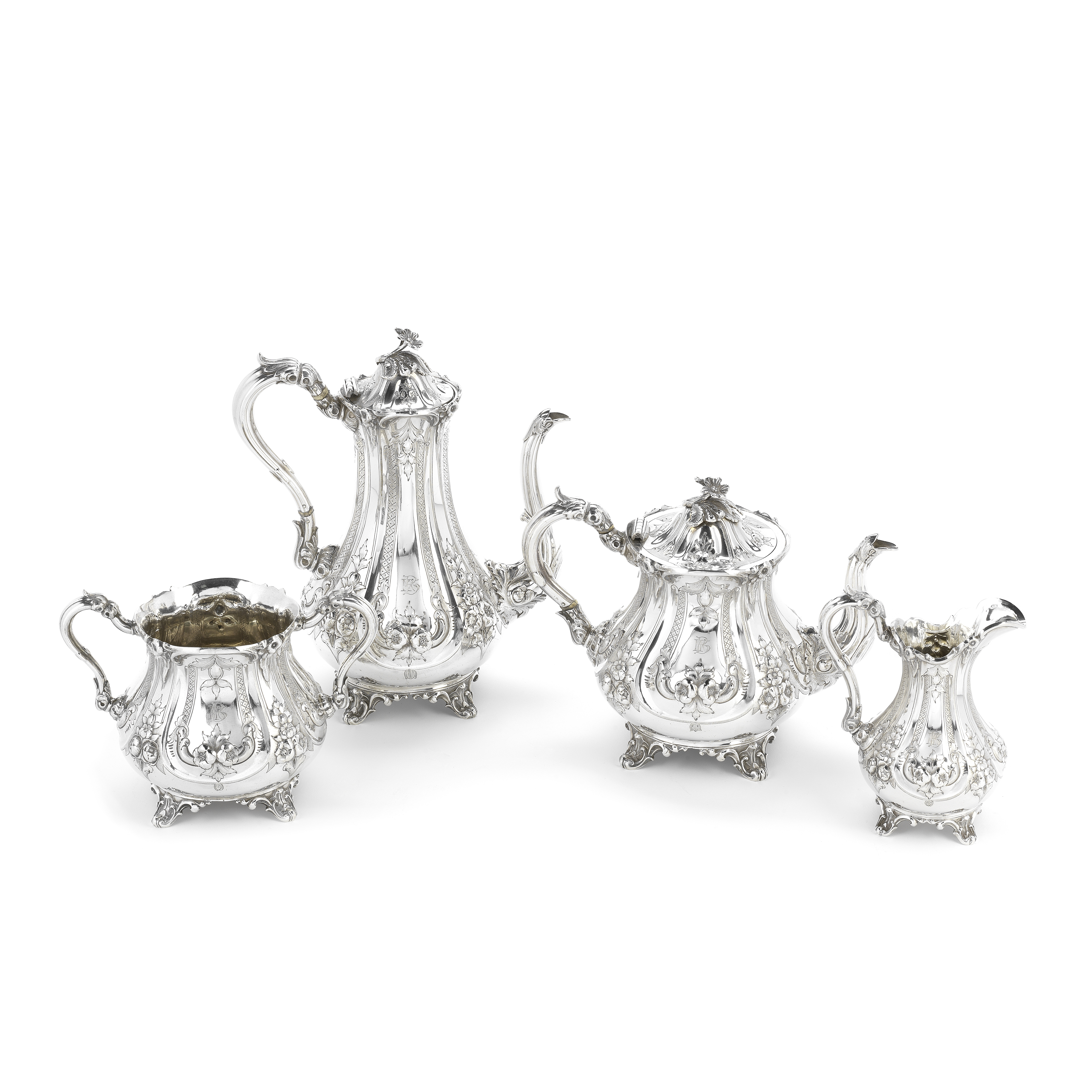 A Victorian silver four-piece tea and coffee service Henry Wilkinson & Co, Sheffield 1860, coffee...
