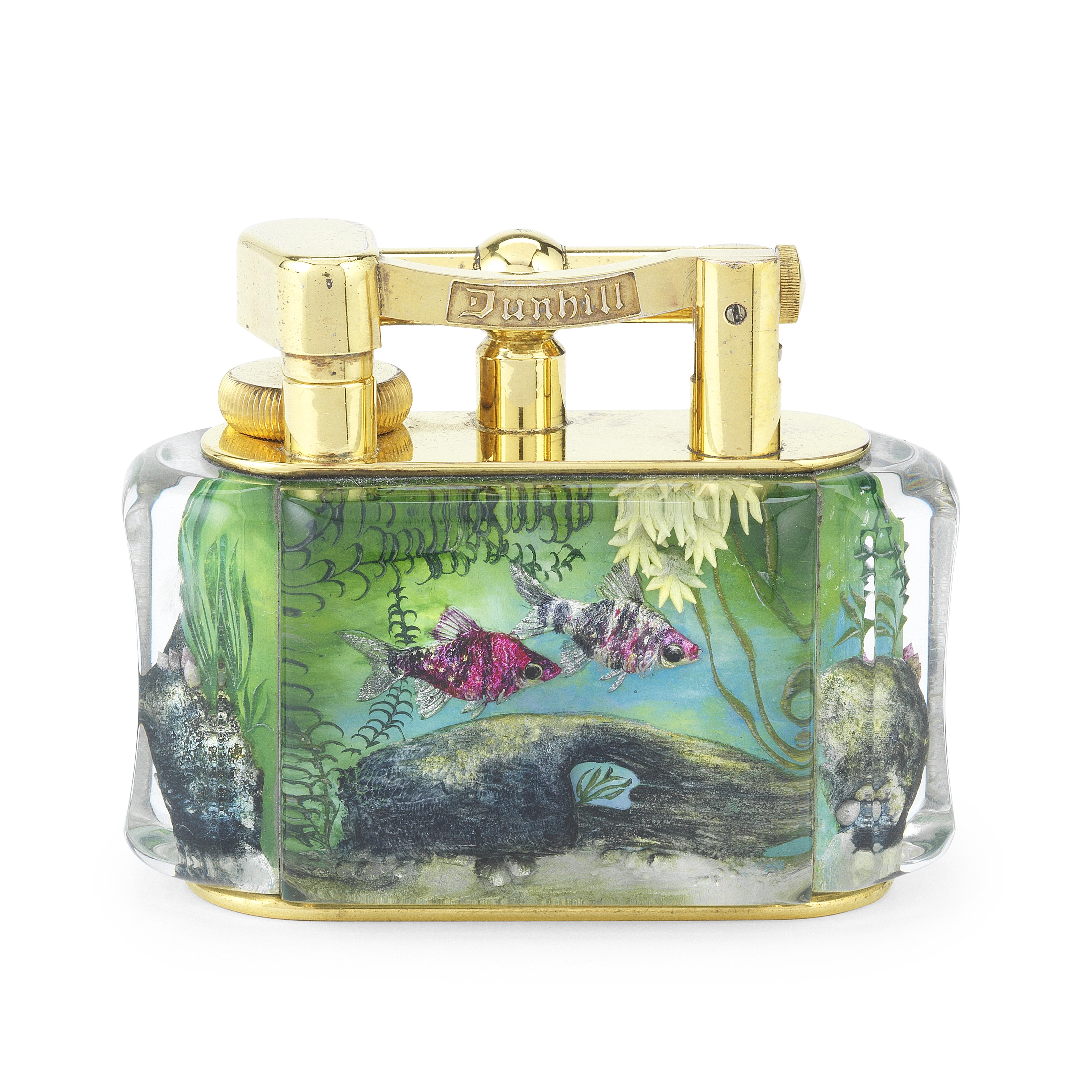 DUNHILL: a good gilt-plated and lucite 'Aquarium' lighter