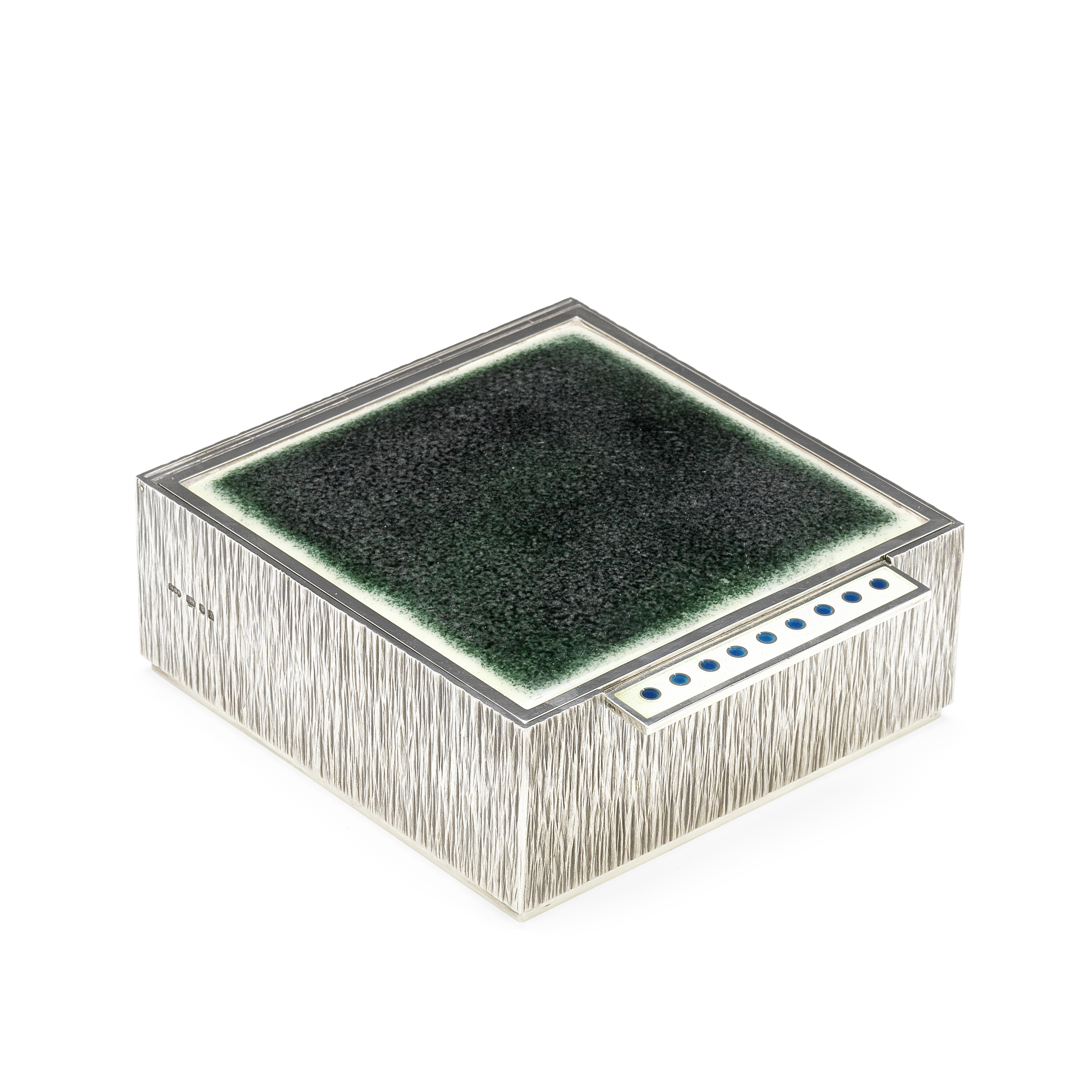 GERALD BENNEY: A rare silver and enamelled box London 1970, also stamped 'GERALD BENNEY LONDON', ...