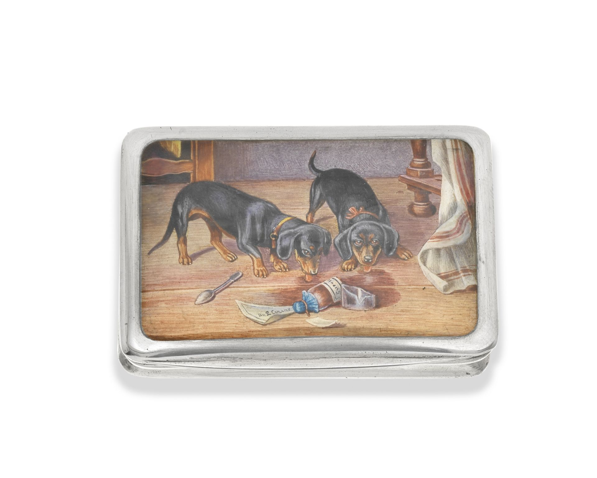 Three silver and enamel cigarette cases probably Austrian (3)