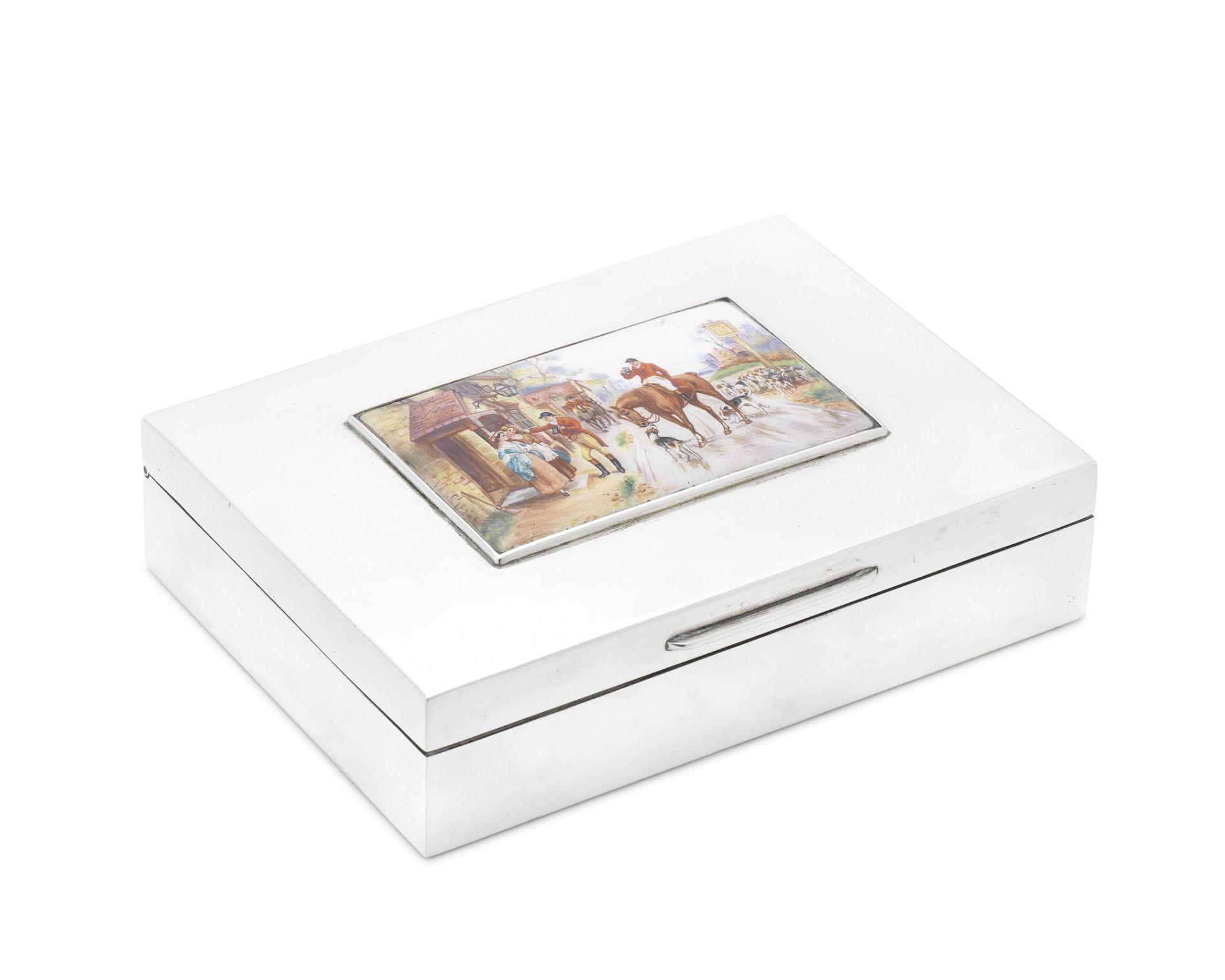 A silver and enamel cigarette box London 1978
