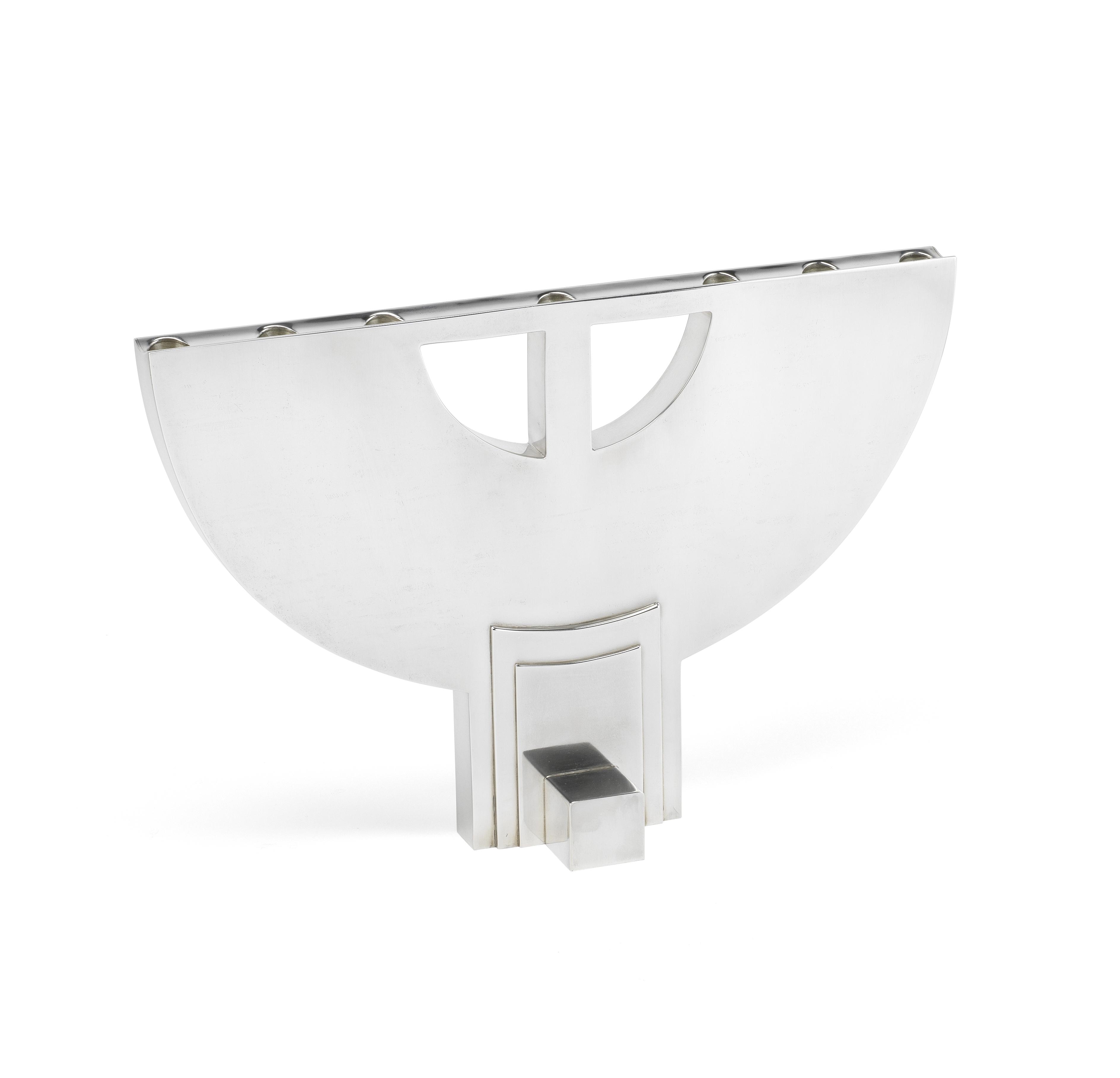 An Italian silver menorah / candelabrum Cleto Munari, designed by Hans Hollein, 1979, underside s...