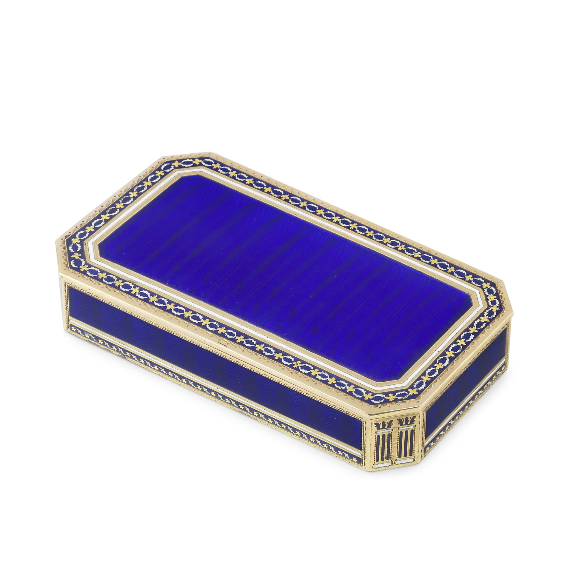 A late 18th/early 19th century German gold and enamelled snuff box marked with crowned cross laur...