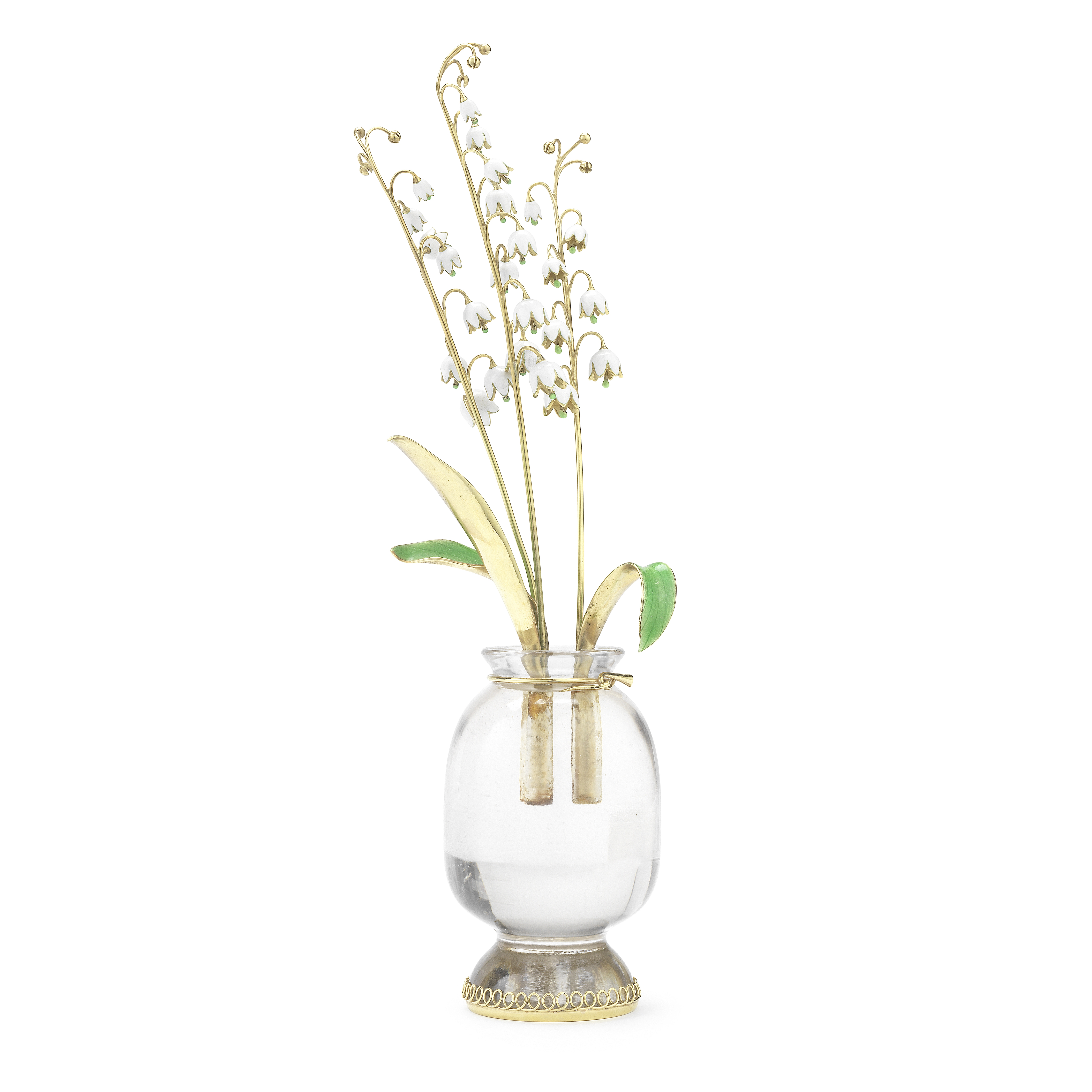 An Italian rock crystal, enamelled and yellow metal ornamental vase of lily of the valley Stampe...