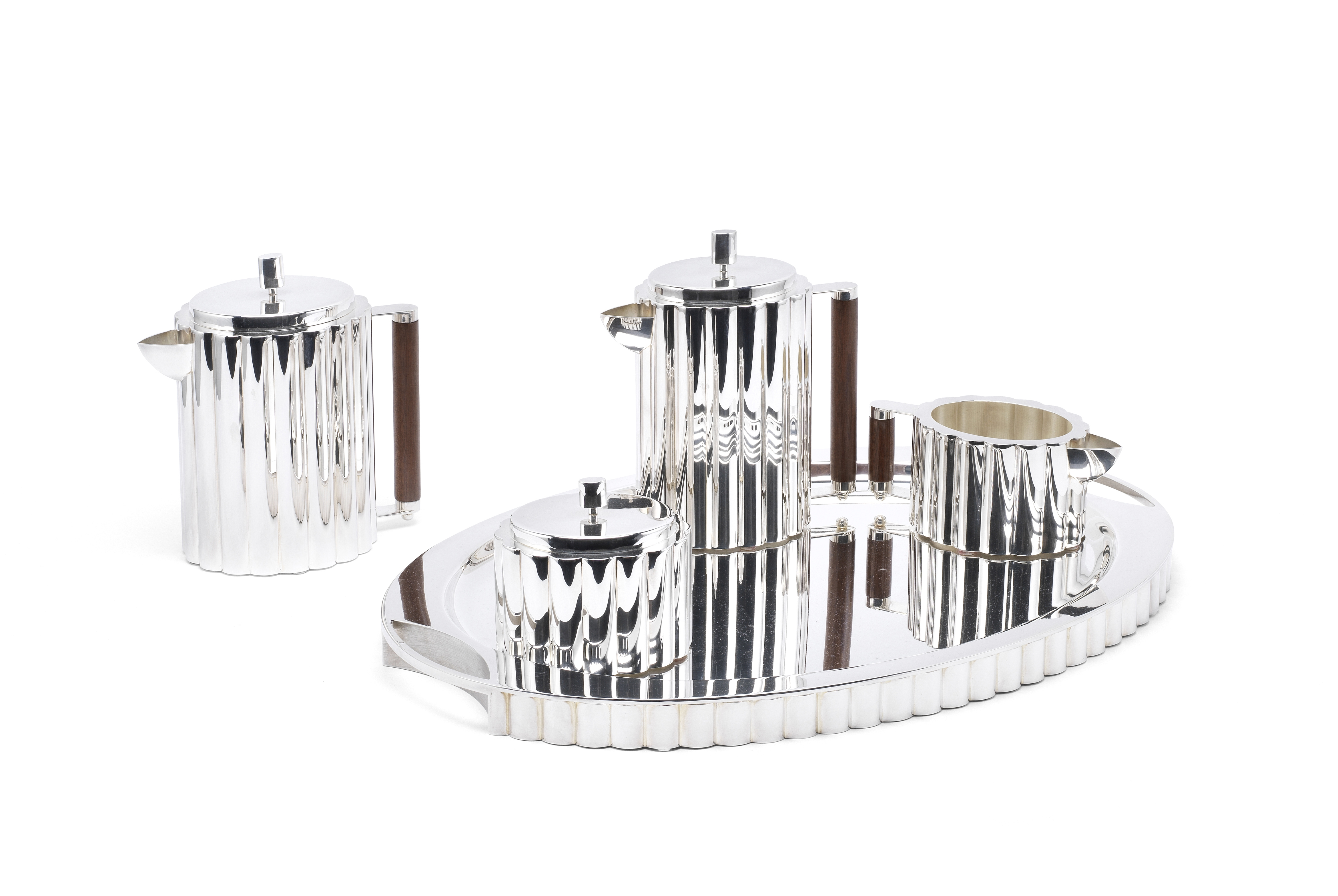 An Italian 'Cannete' design five-piece silver tea and coffee service including tray Cleto Munari,...