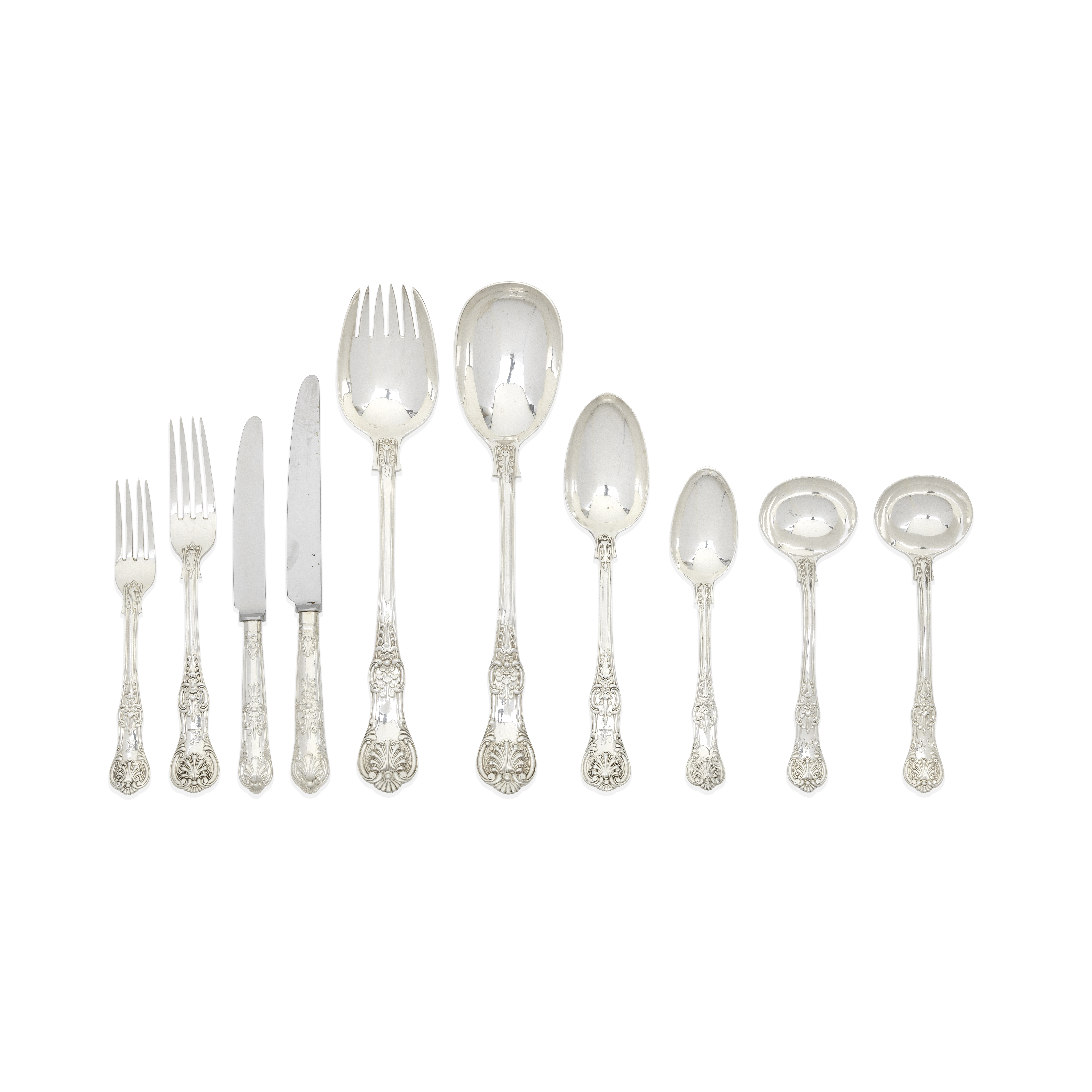 A silver part Queen's pattern flatware service George Adams, London 1848 - 1868, with modern silv...