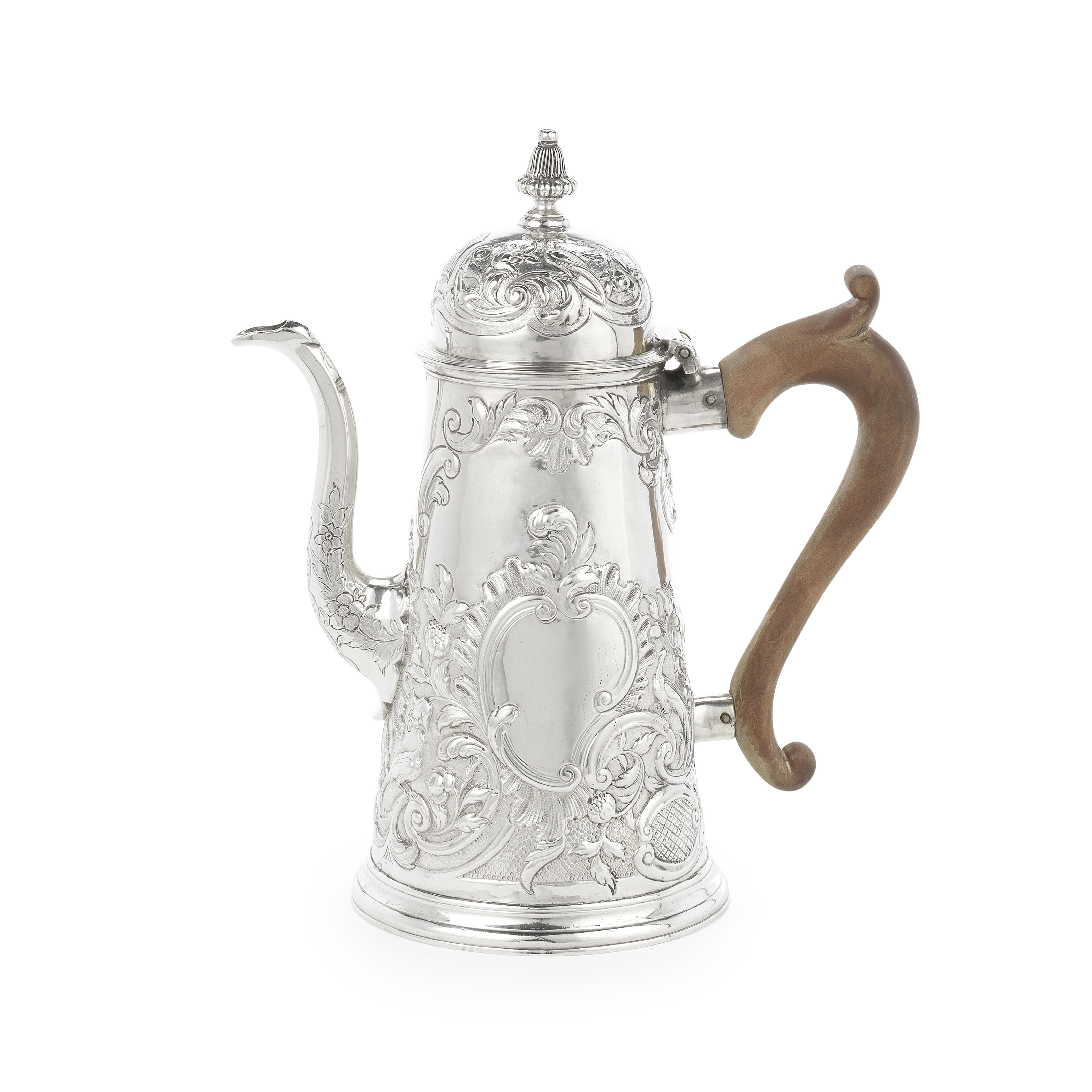 A George I silver coffee pot Edward Yorke, London 1714