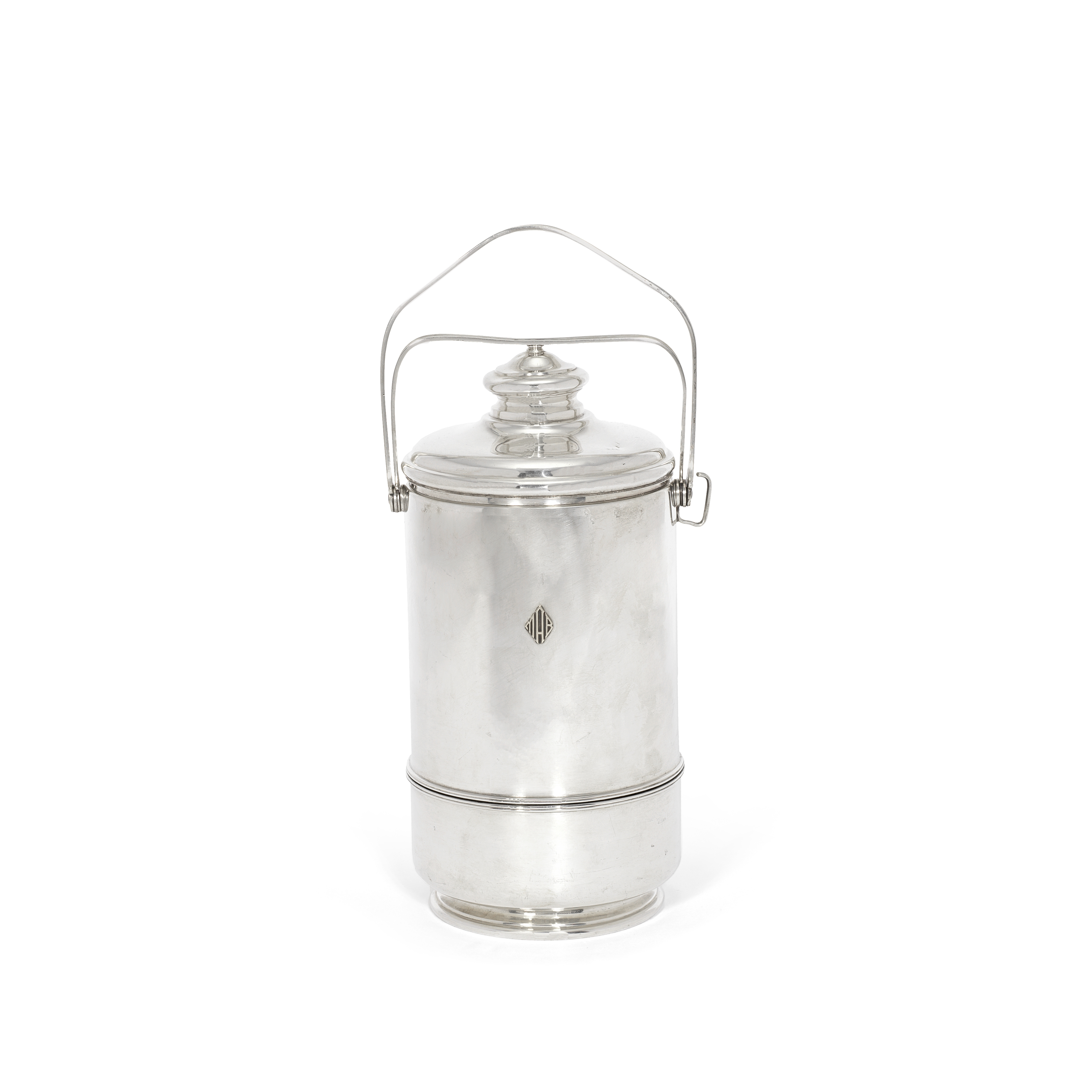 A silver thermos stamped Cartier and Sterling, also stamped with incuse number 360