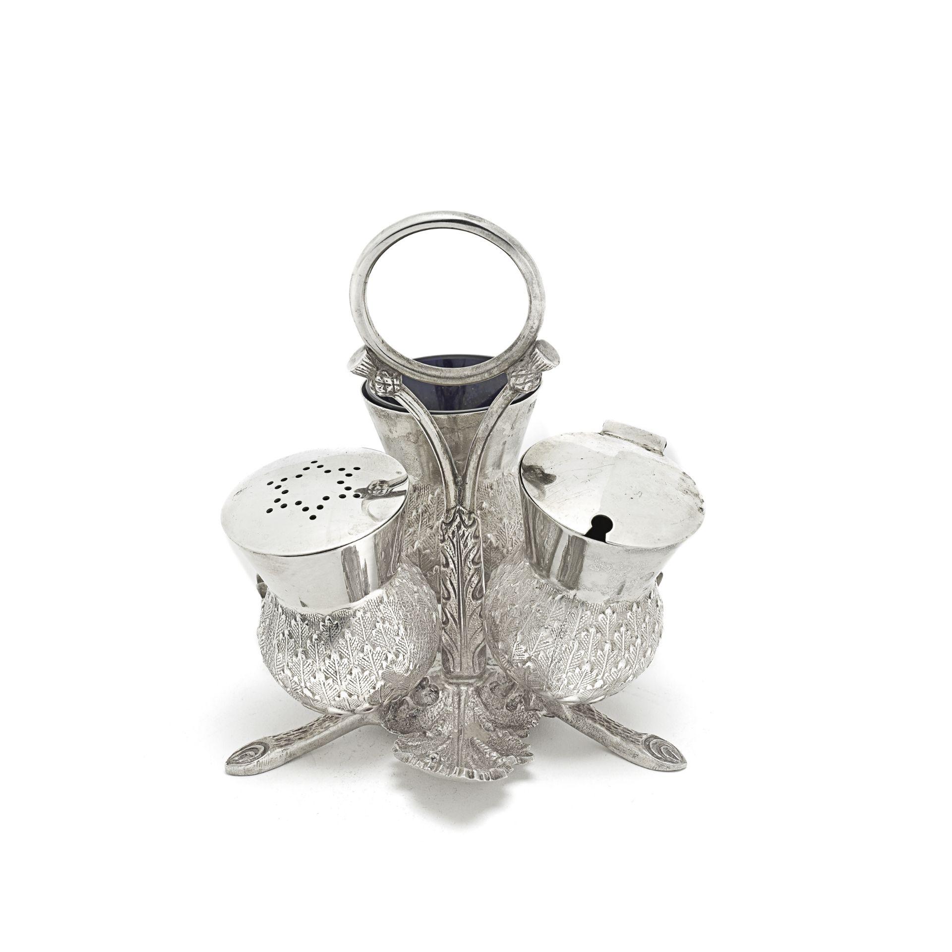 A Scottish silver novelty thistle cruet Hamilton & Inches, Edinburgh 1937